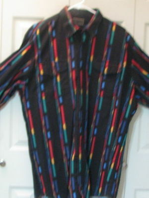 764 Roper Black with Bright Color Stripes Western Shirt, 16.5-36.5