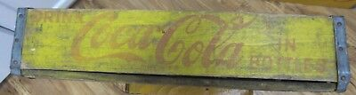 McAlester, Okla 60s Wood Yellow Coca Cola Coke Bottle Crate Carrier