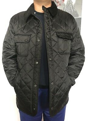 Men's Barbour Jacket Tinfold Quilted Lightweight Snap On Medium Black NWT