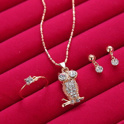 Wedding Bridal Gold Owl Jewelry Rhinestone Crystal Earring Necklace Rings Sets