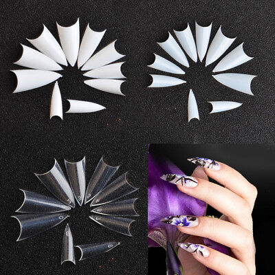500PCS Long Sharp Stiletto French False Nail Art Tips for Acrylic UV Gel Tools