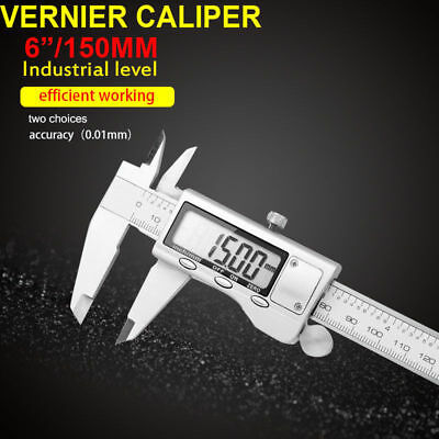 "Digital LCD 6"" Vernier Stainless Steel Caliper 150mm Micrometer Electronic Gauge"