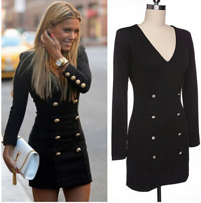 Fashion Women Long Sleeve Casual Bodycon Party Evening Cocktail Mini Dress New
