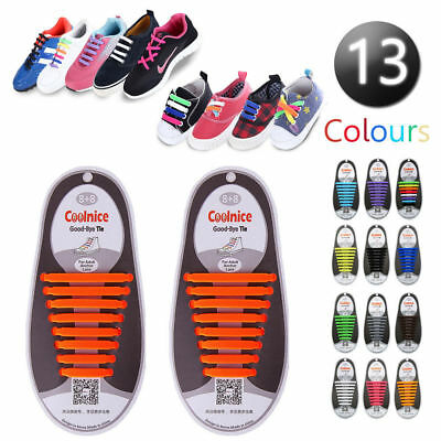 Easy No Tie Elastic Shoe Lace Silicone Trainers Shoes Adult Kids Shoelaces
