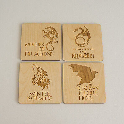 Set of 4 Game of thrones laser etched wooden drinks coasters L29