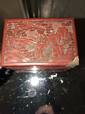 An Antique Carved Chinese Landscape Box