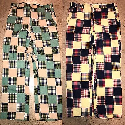 2 True Vintage 70s India MADRAS Pants Size 36 x 31 Patch Pattern Golf Jeans 60s