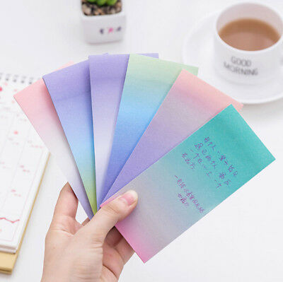 Colorful Gradient Sticky Notes Memo Pads Paper Label Daily Sticker Planner xxf