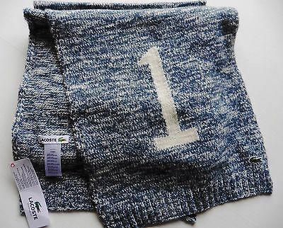 LACOSTE SCARF number 1 75% wool grey fleck long wide 12 x 76 ins  NEW TAGs LONG