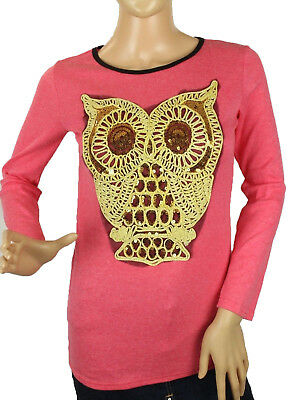 Owl Shirt Junior's Women's Top Pink Sequin Gold Embroidered Long Sleeve Size S/M