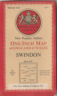 Ordnance Survey Map Swindon Sheet 157 Published First 1940 With 1947 Revisions