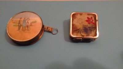vintage retractable tape measures  Victorian glass front  W. German embroidered