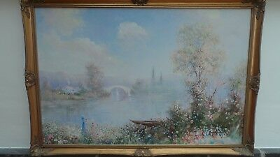 Original Signed Oil On Canvas Painting Gold Ornate Frame