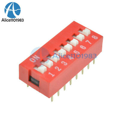 100PCS  Red Slide Type Switch Module 2.54mm 8-Bit 8 Position Way DIP Pitch