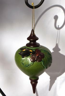Ephraim Faience Pottery 2010 Bee & Bloom Ornament w/ EFP Hanger Stand
