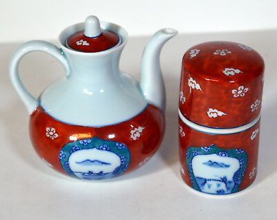 "3"" Vintage Japanese Miniature Porcelain Teapot & Holder Hand Painted Fishermen"