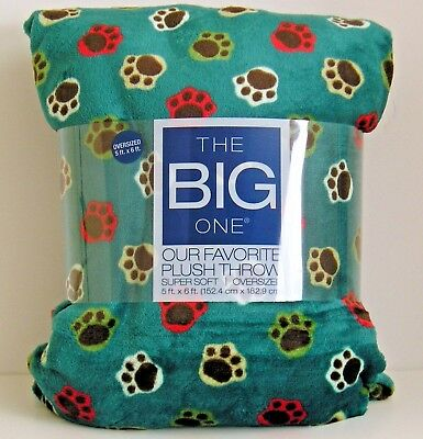 The Big One Throw Blanket Paw Prints Multi Color Oversized Super Soft 5'x 6' NWT