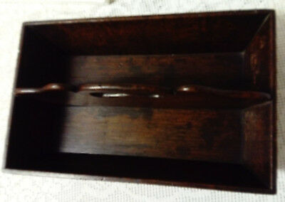 ANTIQUE, 19th CENTURY WOODEN ENGLISH OAK CUTLERY TRAY, IN ORIGINAL CONDITION
