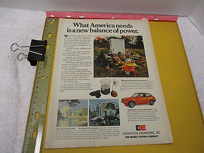 Magazine Print Ad 1974 Combustion Engineering Need New Balance of Power