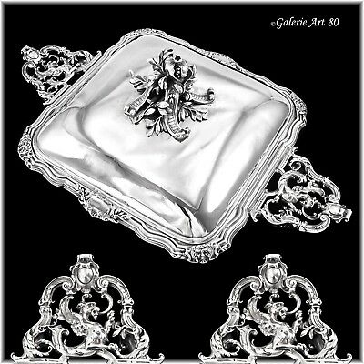 HARLEUX : Spectacular Antique French Sterling Silver Tureen GRIFFINS Mascarons