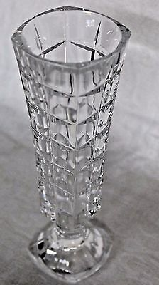 """Lead Crystal Flower Bud Clear Vase Faceted Foot Optical Divide Square 6.75"""" Tall"""