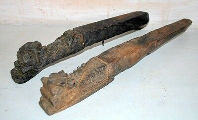 Vintage Old Window Wall Brackets Wooden Hand Carved  2 Piece Pair Panel Brackets