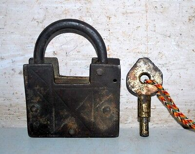 Old Antique Indian Iron Hand Carved PadLock With Key Working Condition Lock Key