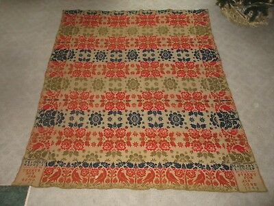 Antique 19th C 4 Color Hand Woven Bird Jacquard Coverlet  L Unger 1844 Willow St