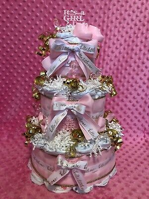 Girl Diaper Cake 3 Tier Pink Gold Elegant Boutique Bows Its A Girl shower gift