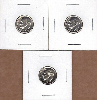 1971-P & 1971-D Uncirculated & 1971-S Proof Roosevelt Dimes (3 Coin Lot ).