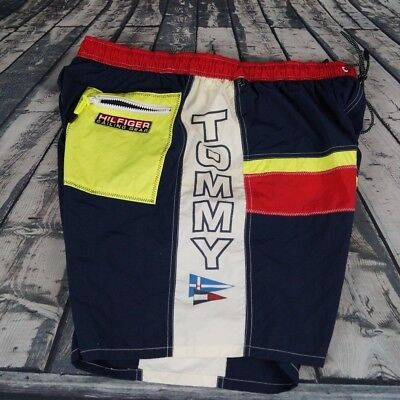 Vtg Tommy Hilfiger Trunks Sailing Gear 45 Color Block Shorts Spell Out Mens XL