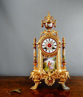 Antique Victorian French Mantel Clock Gilt Metal Porcelain by S Marti Chiming
