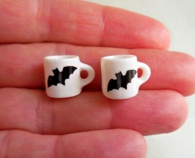 Dollhouse Miniature ~ Halloween ~ Pair Of Ceramic  Bat Mugs