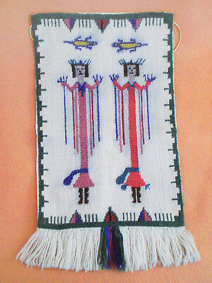 Vintage Hand Sewn Completed WOOL NEEDLEPOINT Tapestry YEI 2 Figures & Lizards