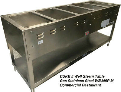 Duke 5 Well Steam Table Gas Stainless Steel WB305P M Commercial Restaurant Used