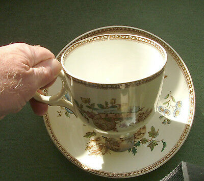 Huge Staffordshire Farmers mush cup and saucer. Seasons pattern. J.F.W. Wileman