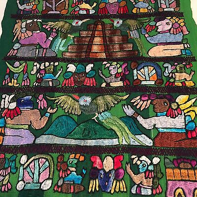 Vtg Central lSouth American Embroidered Tapestry Textile Wall Art pillow front 4