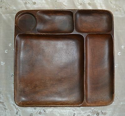 Vintage Solid WOOD Serving Tray ~ 5 Dividers ~ Wood Grain Brown ~ Thick Heavy
