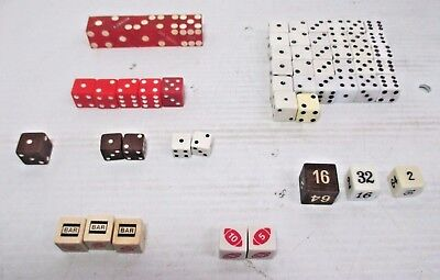 Lot of 55 Dice - Large Small Red Green White 3 Bar, Football, Wood, Caesars