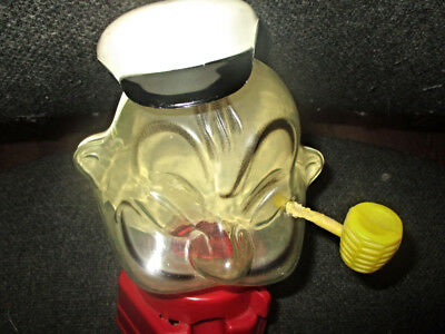 Hasbro 1968 Hard to find Clear Popeye the Sailor Plastic Gumball Machine Bank