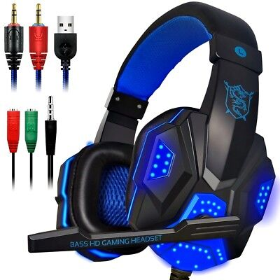 GAMING HEADSET With Mic 3.5mm PC Stereo Gaming Headset for PS4 / Xbox ONE S Blue
