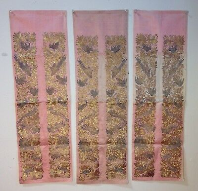 Antique Chinese Embroidered Silk Gold Silver Metallic Sleeve Bands Trim Robe