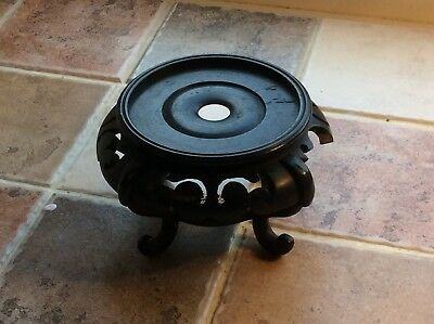 Ornate Vintage Chinese Carved Hardwood Pot Stand. A/F