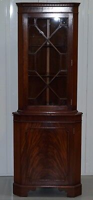 Rrp £1740 Brights Of Nettlebed Flamed Mahogany Astral Glazed Corner Bookcase