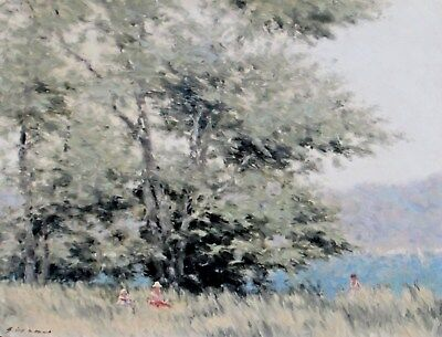 ANDRE GISSON, Listed, Figures in a Field with Trees oil painting