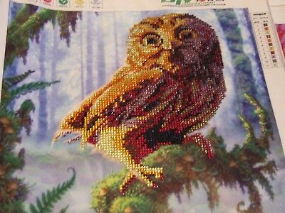 Mosaic Crystal Art Woodland Owl Face Gorgeous - Completed Artwork
