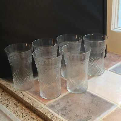 Gorgeous Set Of 6 Antique Cut And Etched Glass Tumblers. Very Fine