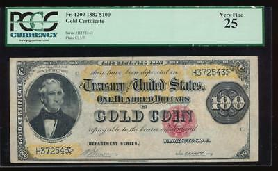 AC Fr 1209 1882 $100 Gold Certificate PCGS 25