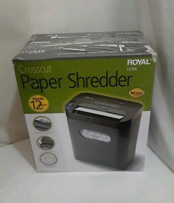 NEW ROYAL 112MX 12-Sheet Crosscut Shredder Shreds CD's Credit Cards W/ Console