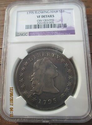 1795 Flowing Hair Dollar Ngc Vf Details, Beautiful!  Ana Guide Shows  It Vf-3O
